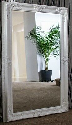 Glossy White Large Bevelled Wall Mirror & Frame, Antique,110cm x 80cm