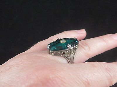 Sterling silver antique vintage diamond filigree victorian emerald ring size 5