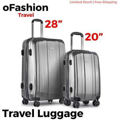 2pc Travel Luggage Suitcase Lock Hard Case Lightweight Carry On Trolley Grey