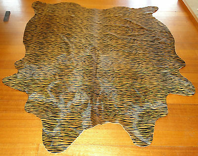 Tiger Print Premium Cowhide Rug     - Create That Colonial Safari Lodge Style -