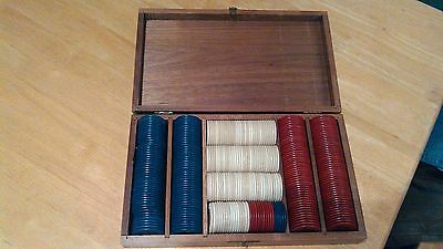 Vintage Clay Poker Chip Set in Wooden Carrying Case 332 Chips