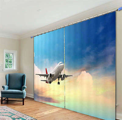 Plane Above The Sky 02 3D Curtain Blockout Photo Print Curtains Fabric Window