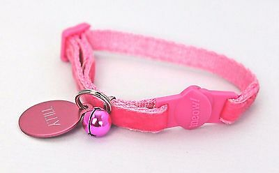 PINK VELVET SAFETY CAT COLLAR CAT BELL with or without Engraved ID Tag