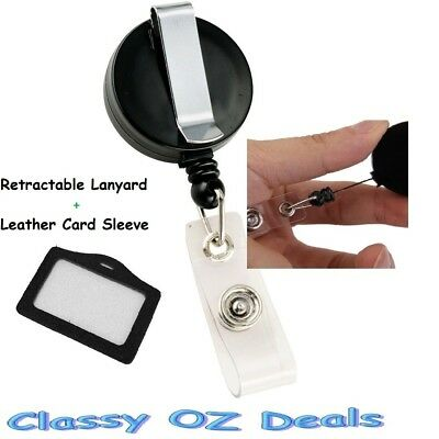 Retractable Lanyard ID Name Badge Card Holder Business Security Pass Tag Cover
