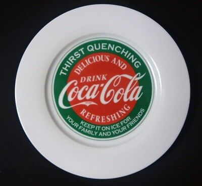 """Drink Coca-Cola Dinner Plate Thirst Quenching Red Green White 10.5"""""""