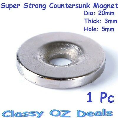 1Pc Rare Earth Magnets 20mm x 3mm Countersunk Disc Hole N35 Neodymium Strong Big