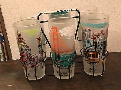 Vintage Libbey Rock Sharpe 6 Highball Glasses San Francisco Chinatown w/Carrier
