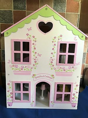 Elc Rosebud Cottage With Wooden Furniture And Five Dolls House Figures