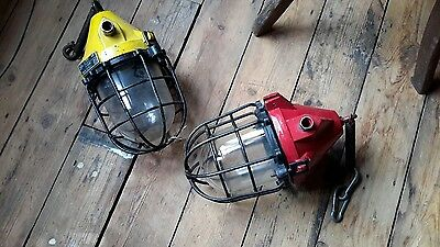 Vintage retro industrial mid century modern lamp light lantern on springs