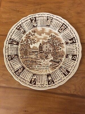 Vintage Alfred Meakin Calendar Plate Display 1972 God Bless Our House England