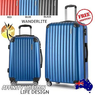 Wanderlite 2 Piece Luggage Set Suitcases In 3 Stylish Colours Featuring Tsa Lock