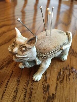 Vintage Florenza Kitty Cat Bobble Head Nodder Stick Pin Cushion 1960's