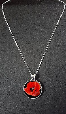 """Poppy Flower Pendant On 18"""" Silver Plated Fine Metal Chain Necklace Gift N887"""