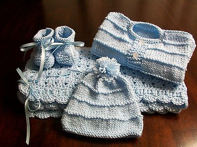 NEW Handmade Crochet Baby Blanket Afghan set ( blue )