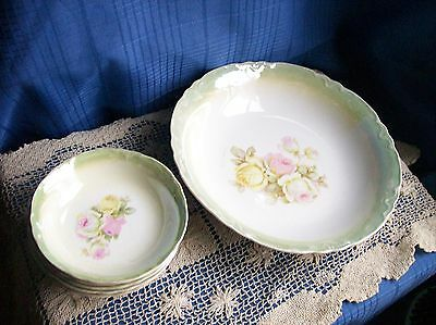 Vintage BOWL SET~Rainier George Bros.~Rose~Porcelain White Green