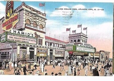 VINTAGE POSTCARD Million Dollar Pier Atlantic City NJ Hamid's Theater 1940