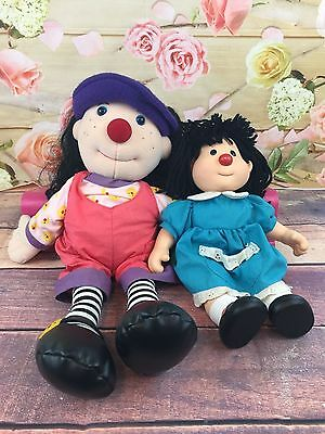 """Vtg 1996 Loonette 20"""" Molly 15"""" The Big Comfy Couch Stuffed Plush Rag Doll Pair"""