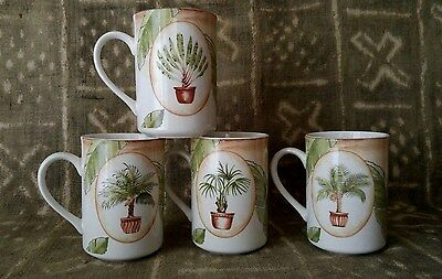 Teacup Coffee Cup Set of 4 Tropical Palm Leaf Tree Porcelain
