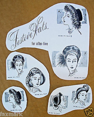"""Festive Hats"" Ad Cuts from Dec. 1947: Stamps-Conhaim Company"