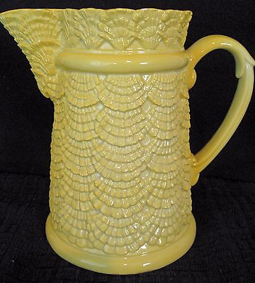 Beautiful Vintage Sunshine Yellow Pitcher - Made In Italy - Seashell Pattern