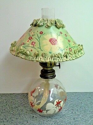 Vintage Decorative Kerosene OIL LAMP With Floral Design and Floral Paper Shade