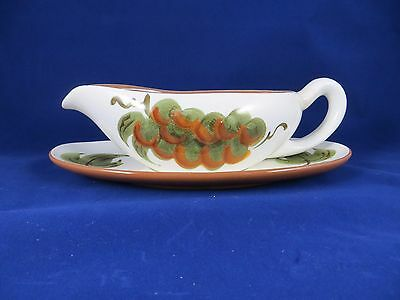 """Stangl Pottery """" Orchard Song""""  2 piece Gravy Boat /Under plate"""