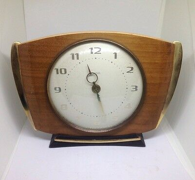 Stunning Art Deco Wooden Smiths Mechanical Mantel Clock With Key