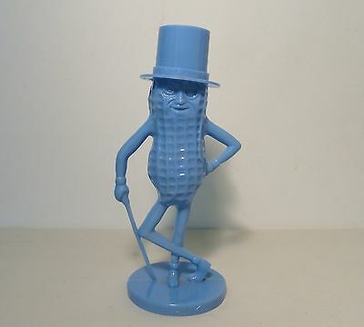 Vintage Mr. Peanut Character Still Piggy Bank Blue Color Plastic Made In USA