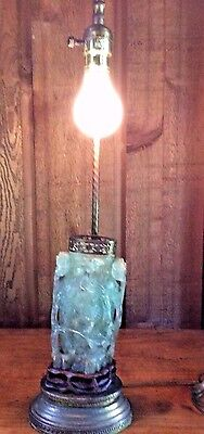 Antique Chinese Carved Jade Green Quartz Stone Table Lamp Rosewood & Brass Base