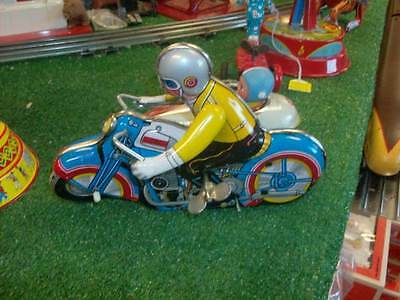 WIND UP MOTR CYCLE WITH SIDE CAR WORKS GREAT ALL ORIG  1980s???