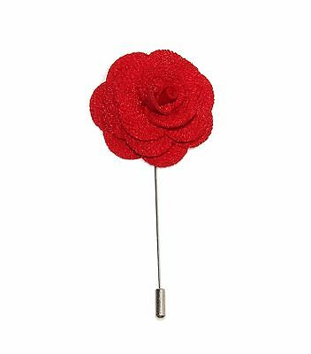 Men's Red Microfiber Floral Lapel Stick Pin & Gift Box ~ Free Domestic Shipping