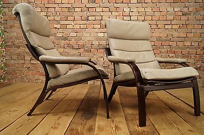 60er Leather Chair Danish Modern Lounge Leather Chair Vintage Westnofa Age 1/2