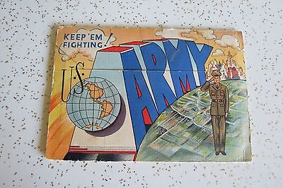 U.S. Army Keep 'Em Fighting! Vintage 1942 WWII Military Fold Out Postcard