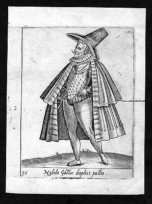 1590 France French nobleman costume engraving Radierung Pietro Bertelli