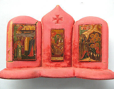 Rare 1825 Imperial Russian Palekh Miniature Icons In Wooden Casing, Signed