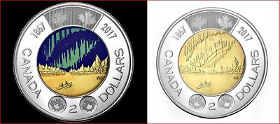 2017 Canada 150 Special Edition Glaw in dark and non colored $2 Toonies  UNC