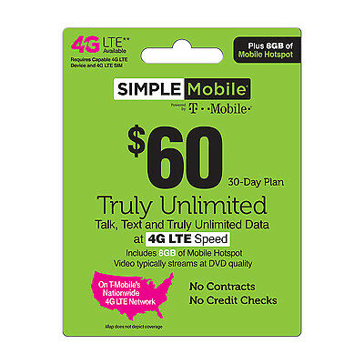 Simple Mobile $60 Preloaded First Month UNLIMITED LTE & 8 GB of Hotspot