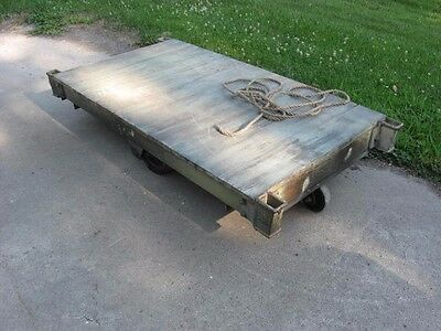 Vintage industrial factory cart warehouse rolling solid workhorse coffee table
