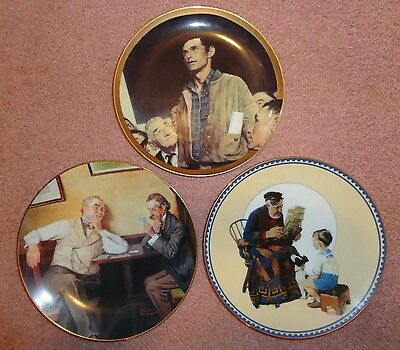 Norman Rockwell Lot 3 Collector Plates-Freedom Speech/best Friends/sea Captain