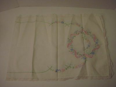 Vintage Handmade Embroidered Circle Of Flowers & Ribbon Table Runner