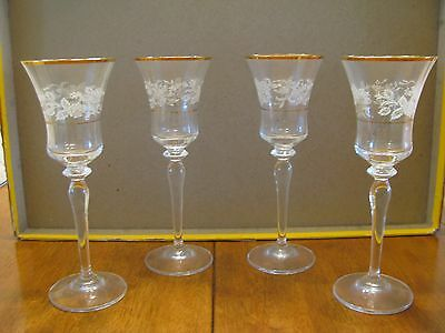 "(4) pc. LOVELY Mikasa Crystal 8"" tall  Antique Lace Floral WINE STEMWARE NICE"