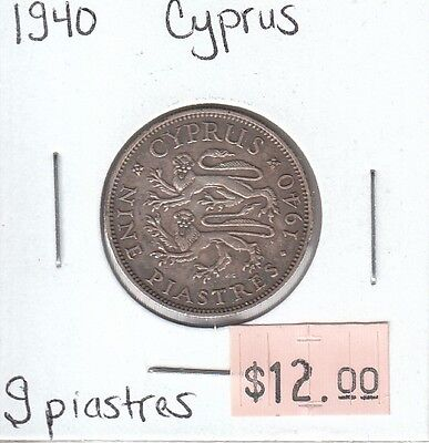 Cyprus 9 Piastres 1940 Circulated