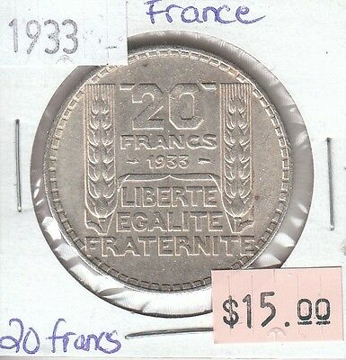 France 20 Francs 1933 Silver Circulated