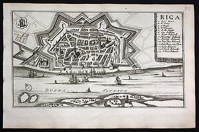 1735 - Riga Lettland Latvia view panorama engraving Ratelband map