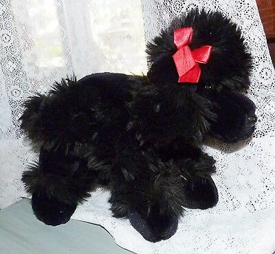 """FAO Schwarz 5th Ave Plush Black French Poodle Dog Red Bows 10"""" Stuffed Animal"""