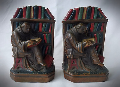 Antique Bronze Clad Weighted Bookends Monks in Library