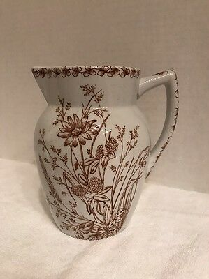 Nice Ironstone Water Pitcher W/ Brown Transferware Floral Design, Stoke Pottery