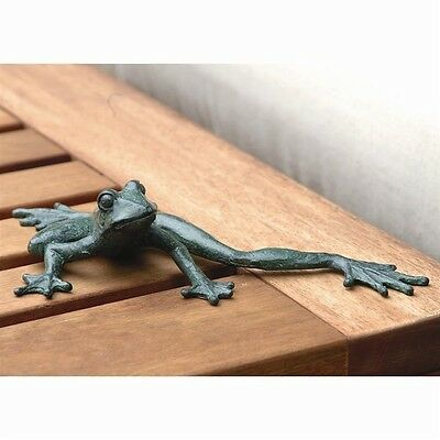 Cute Froggy Longlegs  Iron Frog Figurine Garden Pond Pool Decor,9.5'' X 2.5''H.