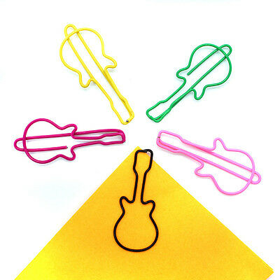 Paper Clips Guitar Shaped Clamps Metal Bookmark for School Office Pack of 20 EB5
