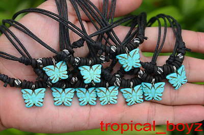 10 Handmade Artificial Stone BLUE Butterfly with Bone Beads Necklaces Wholesale